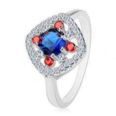 Stříbrný prsten 925, tmavě modrý střed, čiré a červené zirkonky