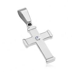 Lesklý ocelový přívěsek stříbrné barvy, berličkový kříž s čirým zirkonem AA34.02