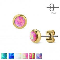 Náušnice z oceli 316L zlaté barvy s kulatým syntetickým opálem W04.05/10