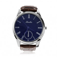 Pánské náramkové hodinky, modrý kruhový ciferník, hnědý řemínek