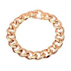 Ocelový náramek - tlustý řetěz zdobený hadím vzorem, měděná barva