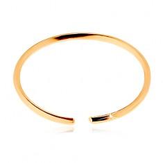 Piercing do nosu ze žlutého 14K zlata - lesklý tenký kroužek, hladký povrch