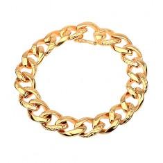 Náramek z oceli 316L  zlaté barvy - tlustý řetěz zdobený hadím vzorem