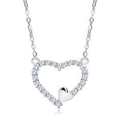 Náhrdelník ze stříbra 925, zirkonová kontura srdce a malé srdíčko