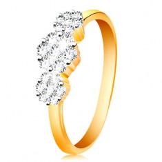 110cc0690 Zlatý prsten 585 - tři blýskavé květy z čirých zirkonů, tenká lesklá ramena  GG199.