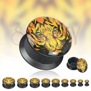 Černý tunnel do ucha - tvář tygra