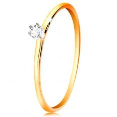Zlatý prsten 585 - čirý zirkon v kotlíku z bílého zlata, tenká ramena GG201.24/30
