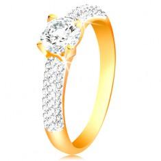 Zlatý 14K prsten - třpytivá ramena, vyvýšený kulatý zirkon čiré barvy