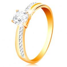 Prsten ze zlata 585 - úzké zirkonové linie na ramenech, velký čirý zirkon