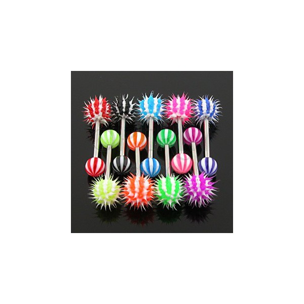 Piercing jazyka - barevný pruhovaný ježek