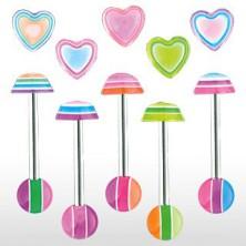 Piercing jazyka - Multicolor heart