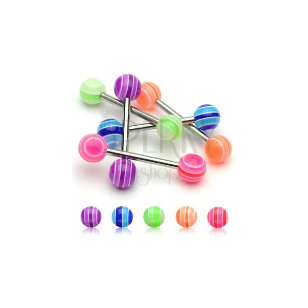 Piercing do jazyka -  UV Multicolor Ball