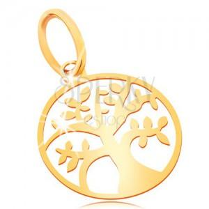 Přívěsek ze žlutého zlata 585 - malý lesklý plochý strom života v kruhu