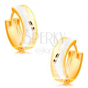 Trojbarevné kloubové náušnice ze 14K zlata - matné kroužky s blýskavou vlnkou uprostřed