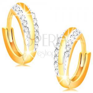 Kloubové náušnice ze 14K zlata - lesklé kroužky s liniemi čirých zirkonů