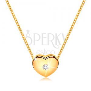 Briliantový náhrdelník ze žlutého 14K zlata - srdíčko s čirým diamantem, řetízek