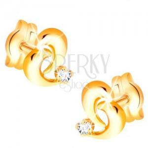 Briliantové zlaté náušnice 585 - obrys nepravidelného srdce, diamant čiré barvy