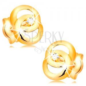 Náušnice ve žlutém 14K zlatě - dva propojené prstence, briliant uprostřed
