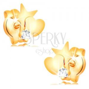 Zlaté diamantové náušnice 585 - hvězda a srdce, kulatý čirý briliant