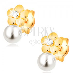 Náušnice ze žlutého 14K zlata, lesklý květ s čirým diamantem, bílá perla