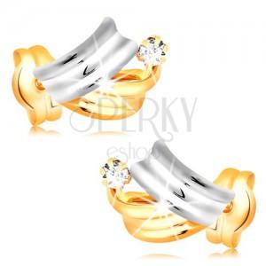 Briliantové zlaté náušnice 14K - lesklé dvoubarevné oblouky, čirý kulatý diamant