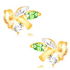 Zlaté náušnice 585 - větvička s listy, zelený smaragd, čirý diamant BT501.05 Šperky eshop