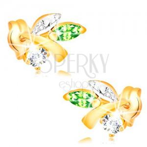 Zlaté náušnice 585 - větvička s listy, zelený smaragd, čirý diamant