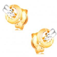 Náušnice ze 14K zlata - zářivý čirý diamant v lesklém kroužku, proužek bílého zlata