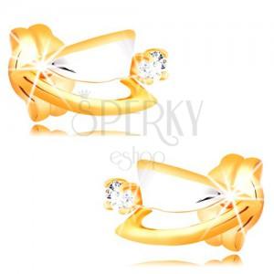 Diamantové náušnice ze 14K zlata - dvoubarevné trojúhelníčky, čirý briliant