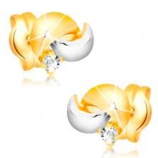 Zlaté 14K náušnice s blýskavým diamantem, dvoubarevné obloučky, puzetky