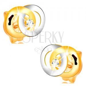 Náušnice ve 14K zlatě - dva propojené kroužky, čirý briliant uprostřed