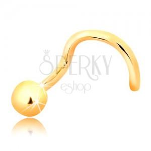 Zlatý zahnutý piercing do nosu 585 - lesklá kulička, 2,5 mm