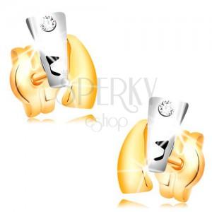 Diamantové náušnice ze 14K zlata - dvoubarevné oblouky, čirý briliant