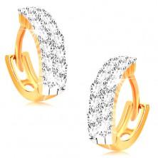 Náušnice ve žlutém 14K zlatě - malé kroužky zdobené čirými zirkony
