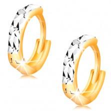 Náušnice ze 14K zlata - kroužky s blýskavými zářezy a bílým zlatem