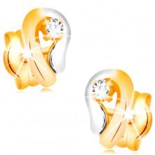 Zlaté 14K náušnice, dvoubarevná kontura kapky se zářivým diamantem