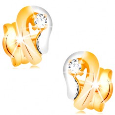 Zlaté 14K náušnice, dvoubarevná kontura kapky se zářivým diamantem BT501.32