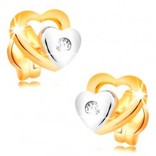 Briliantové náušnice ze 14K zlata - dvě srdíčka a broušený čirý diamant