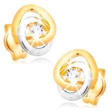 Náušnice ve 14K zlatě - dvoubarevné propojené prstence, čirý třpytivý briliant