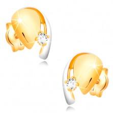 Diamantové zlaté 14K náušnice, dvoubarevná kapka se zářivým briliantem