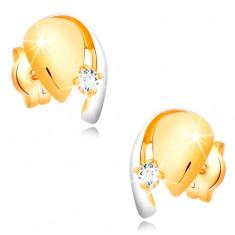 Diamantové zlaté 14K náušnice, dvoubarevná kapka se zářivým briliantem BT501.33 Šperky eshop