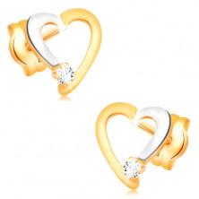 Briliantové náušnice ve 14K zlatě - obrys srdíčka s čirým diamantem