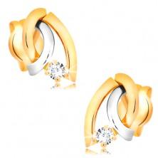 Dvoubarevné náušnice ve 14K zlatě - tři zahnuté linie, kulatý zářivý briliant