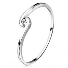 Prsten z bílého zlata 14K - kulatý čirý zirkon mezi zahnutými rameny