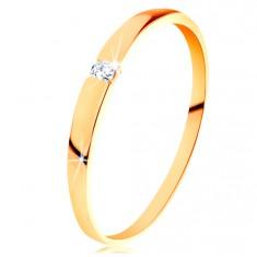 Zlatý 14K prsten - blýskavý zirkon čiré barvy, hladká vypouklá ramena GG202.09/15 Šperky eshop