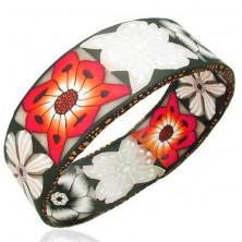 Náramek Fimo široký červené, bílé a černé květy