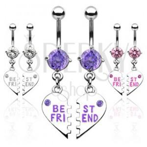 Dvojitý piercing do pupíku zlomené srdce BEST FRIEND