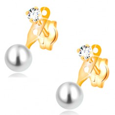 Náušnice ve žlutém 14K zlatě, čirý zirkon a kulatá bílá perla, puzetky