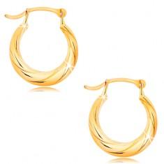 Kruhové náušnice ze žlutého 14K zlata - motiv zatočeného lana, vysoký lesk
