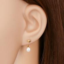 Náušnice ve žlutém 14K zlatě, lesklá hladká kulička a bílá perla